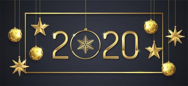 Feliz natal e feliz ano novo 2020 modelo de banner Vetor Premium