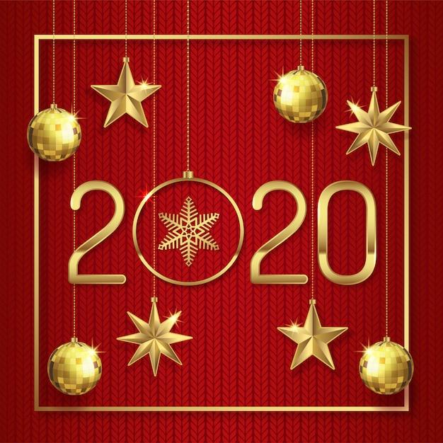 Feliz Natal E Feliz Ano Novo 2020 Modelo De Banner Vetor