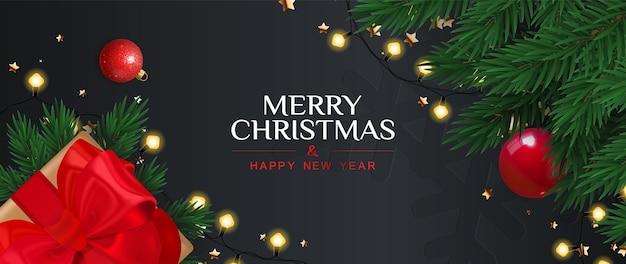 Feliz natal e feliz ano novo banner com caixa de presente, galhos de pinheiro e festão. Vetor Premium