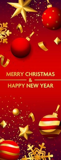 Feliz natal e feliz ano novo banner com enfeites Vetor grátis