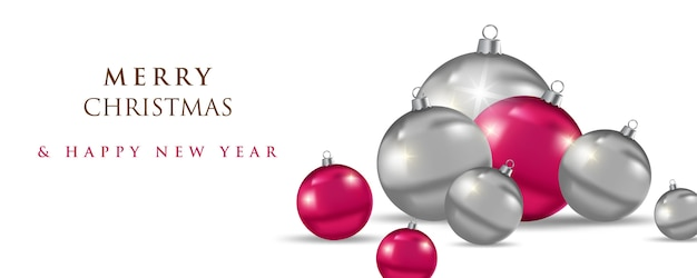 Feliz natal e feliz ano novo, banner de 2020 Vetor Premium