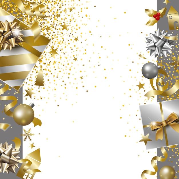 Feliz natal e feliz ano novo banner design de caixa de presente de luxo com fita caindo ba Vetor Premium