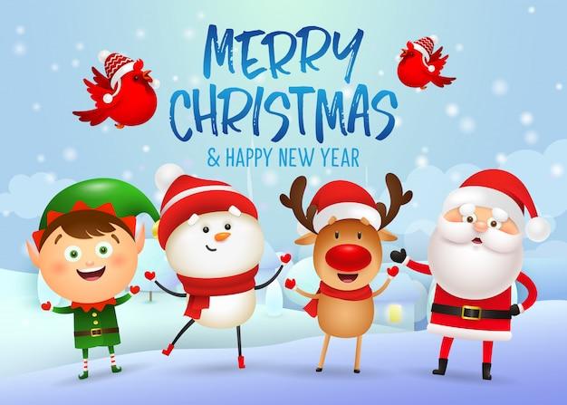 Feliz natal e feliz ano novo banner design Vetor grátis