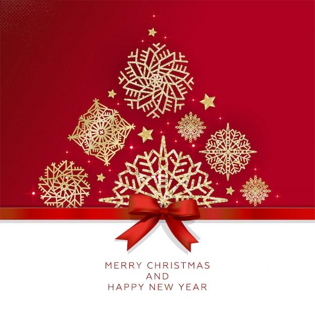 Feliz natal e feliz ano novo cartão com árvore de natal feita de flocos de neve brilhantes Vetor Premium