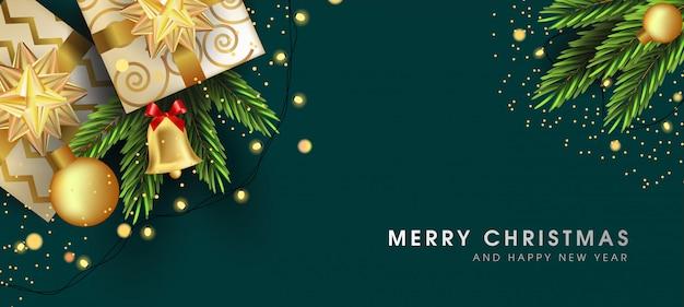 Feliz natal e feliz ano novo cartão com belos elementos Vetor Premium