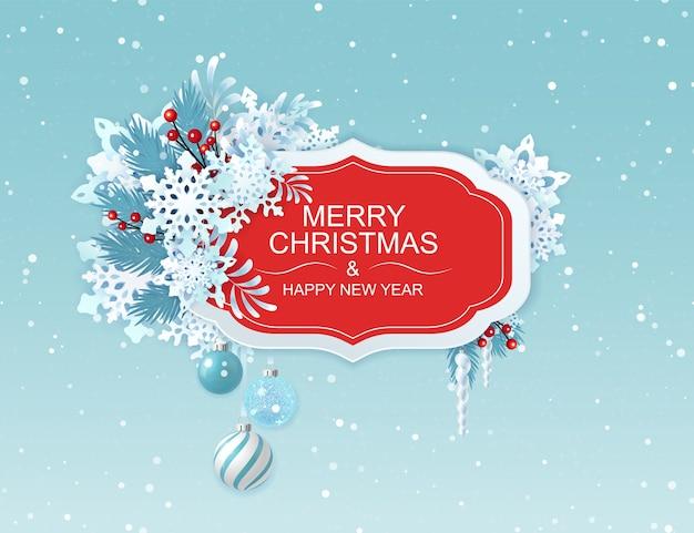 Feliz natal e feliz ano novo cartão com flocos de neve. Vetor Premium