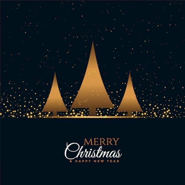 Feliz natal e feliz ano novo cartão com três árvores Vetor grátis