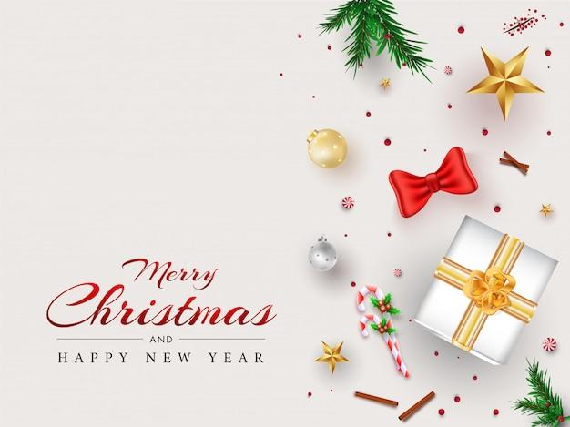 Feliz natal e feliz ano novo cartão com vista superior da caixa de presente, enfeites, estrelas, pirulito e pinho folhas decoradas em branco. Vetor Premium