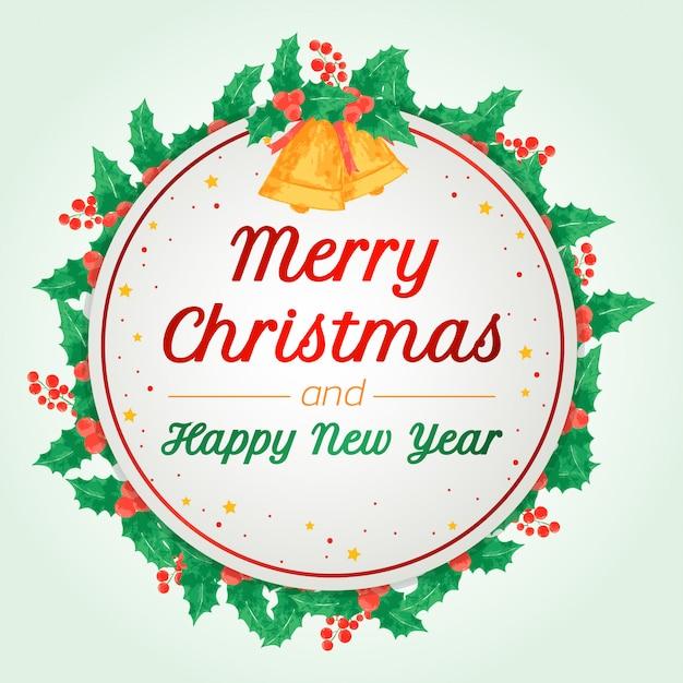 Feliz natal e feliz ano novo cartão de felicitações Vetor Premium