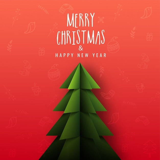 Feliz natal e feliz ano novo cartão design com corte de papel árvore de natal em fundo vermelho elementos festival de natal. Vetor Premium