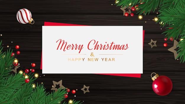 Feliz natal e feliz ano novo cartão postal com estrelas na textura de madeira Vetor Premium