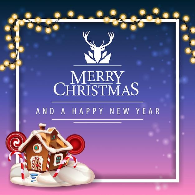 Feliz natal e feliz ano novo, cartão postal com logotipo linda saudação com veados Vetor Premium