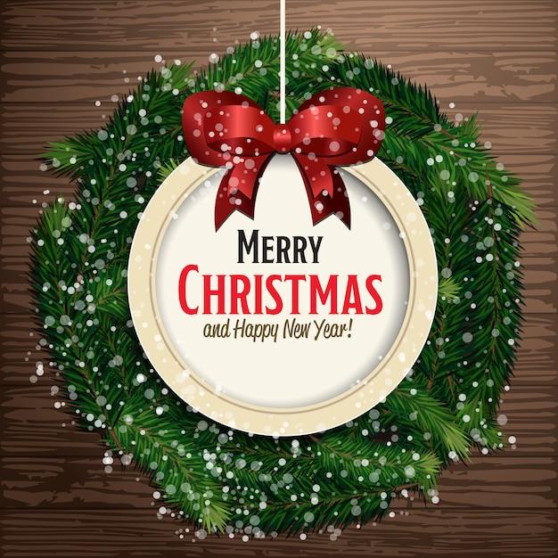 Feliz natal e feliz ano novo cartão Vetor Premium