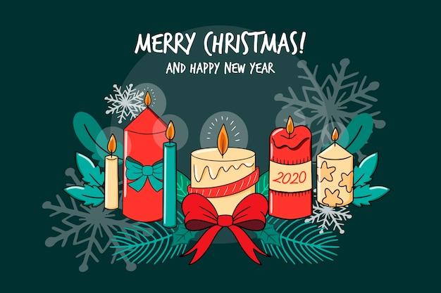 Feliz natal e feliz ano novo coleção de velas Vetor grátis