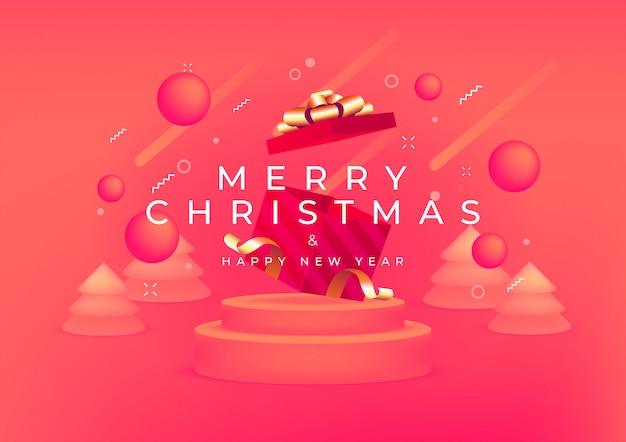 Feliz natal e feliz ano novo com caixa de presente vermelha e faixa de fita de ouro. Vetor Premium