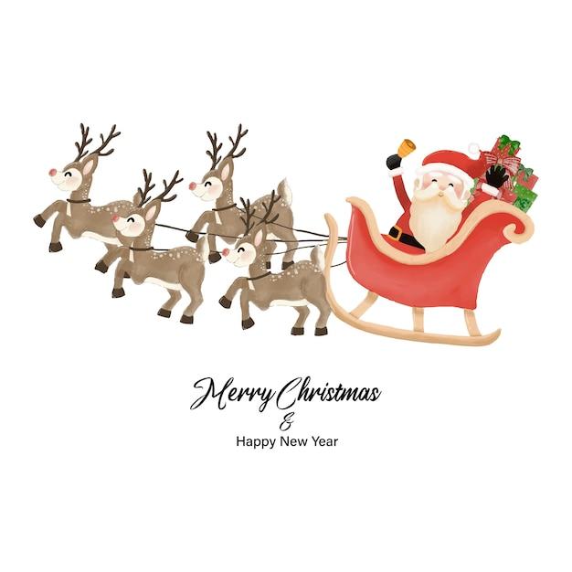 Feliz natal e feliz ano novo com o papai noel e o trenó de renas. desenho aquarela na ilustração de fundo branco Vetor Premium