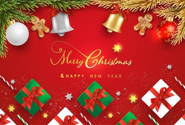 Feliz natal e feliz ano novo com objetos festivos realistas Vetor Premium