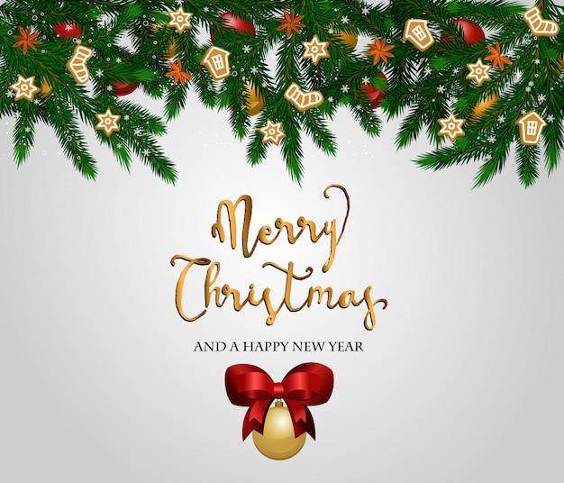 Feliz natal e feliz ano novo conceito Vetor Premium