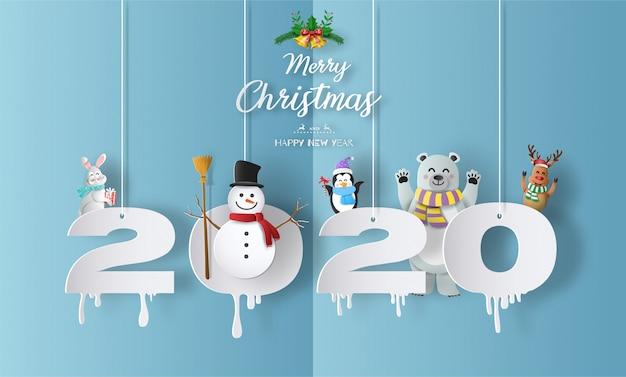 Feliz natal e feliz ano novo de 2020 conceito com boneco de neve Vetor Premium