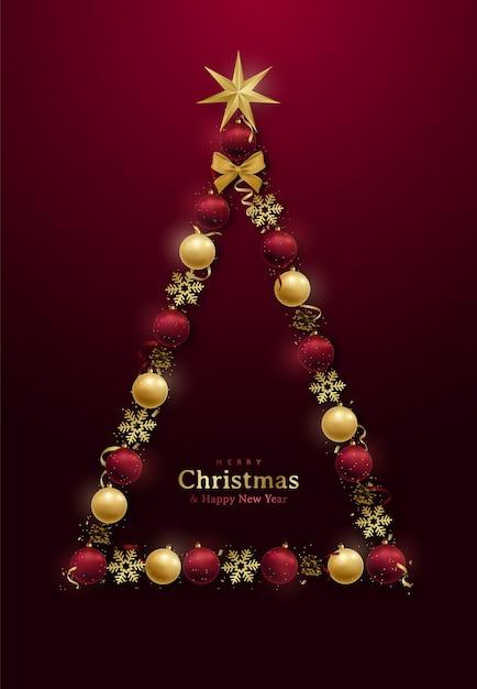 Feliz natal e feliz ano novo desenho com árvore de natal decorativa abstrata. Vetor Premium