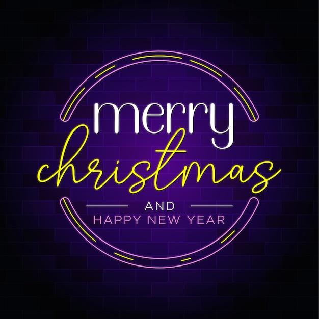 Feliz natal e feliz ano novo em crachá com texto em néon Vetor Premium
