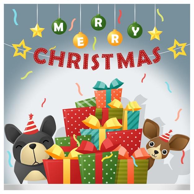 Feliz natal e feliz ano novo fundo com cães Vetor Premium
