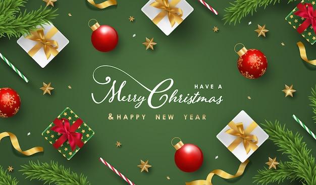 Feliz natal e feliz ano novo fundo com objetos festivos realistas Vetor Premium