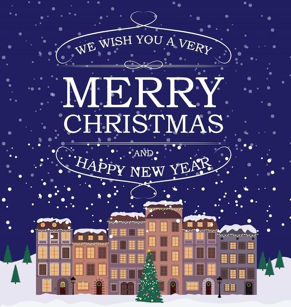 Feliz natal e feliz ano novo fundo com pequena cidade em estilo retro. Vetor Premium