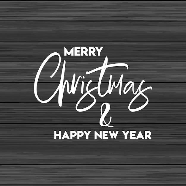 Feliz natal e feliz ano novo fundo de madeira Vetor grátis