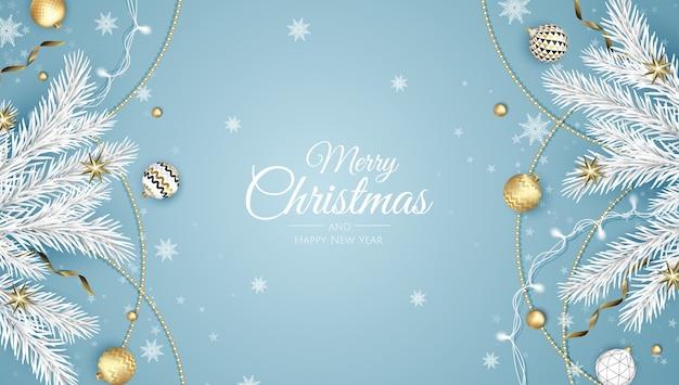 Feliz natal e feliz ano novo. fundo de natal com poinsétia, flocos de neve, estrela e bolas. cartão de felicitações, banner de férias, pôster da web Vetor Premium