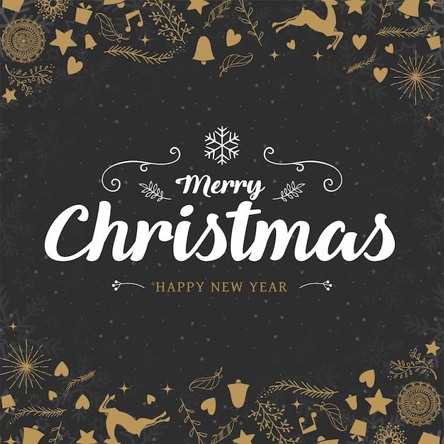 Feliz natal e feliz ano novo fundo decorativo elegância. Vetor Premium