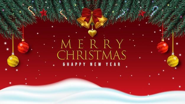 Feliz natal e feliz ano novo fundo Vetor Premium