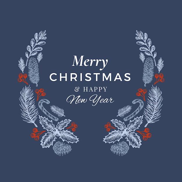 Feliz natal e feliz ano novo mão desenhada sketch grinalda, banner ou modelo de cartão. Vetor grátis