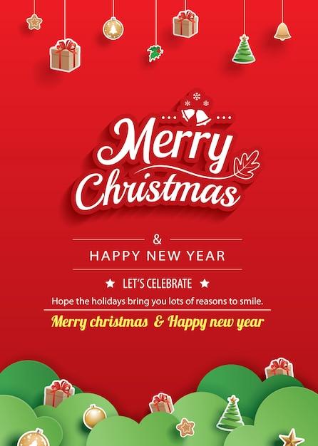Feliz natal e feliz ano novo modelo de cartão de saudação. Vetor Premium