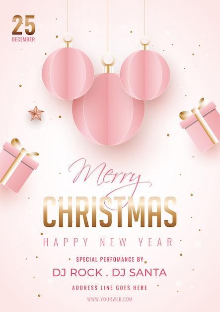 Feliz natal e feliz ano novo modelo ou panfleto decorado com enfeites de papel cortado, detalhes da caixa de presente e local de suspensão. Vetor Premium