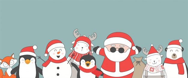 Feliz natal e feliz ano novo personagens planas fofos. Vetor Premium