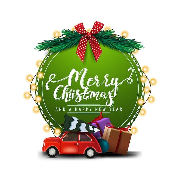 Feliz natal e feliz ano novo, redondo cartão verde com letras bonitas Vetor Premium