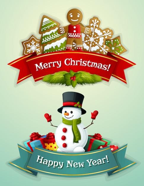 Feliz natal e feliz ano novo saudação banner conjunto Vetor grátis