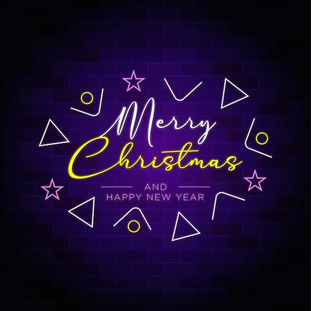Feliz natal e feliz ano novo texto em néon com decoração elegante Vetor Premium