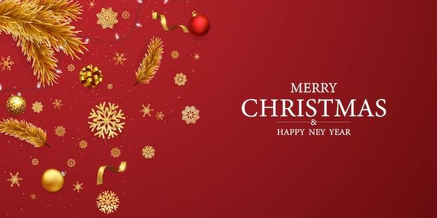 Feliz natal e feliz ano novo Vetor Premium