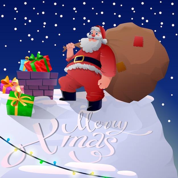 Feliz natal e papai noel com presentes Vetor Premium
