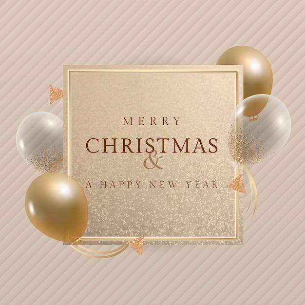 Feliz natal e um feliz ano novo cartão com balões dourados Vetor grátis