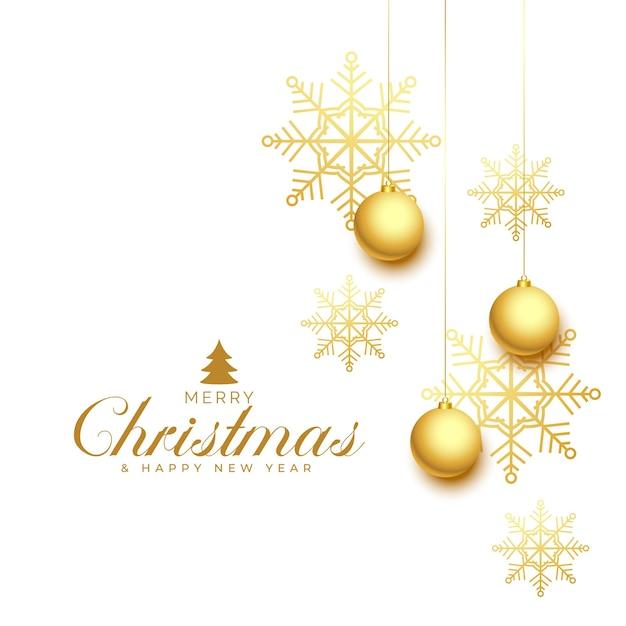 Feliz natal elegante com flocos de neve dourados e bugigangas Vetor grátis