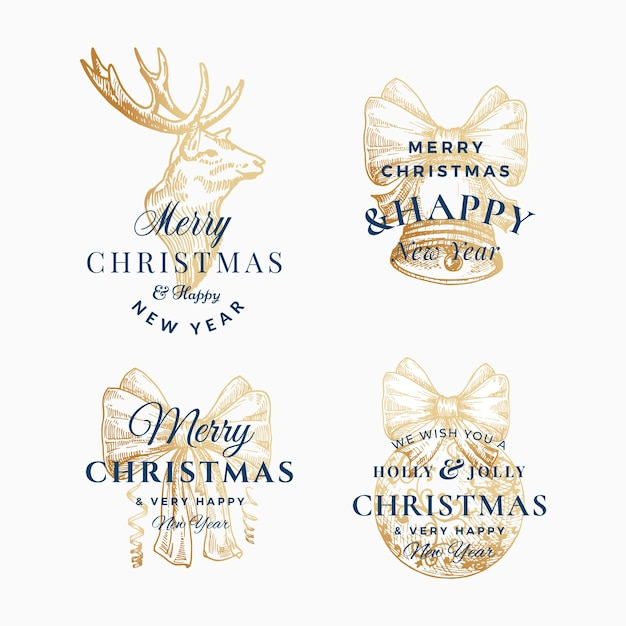 Feliz natal elegante e feliz ano novo conjunto de sinais abstratos, etiquetas ou modelos de logotipo. Vetor grátis
