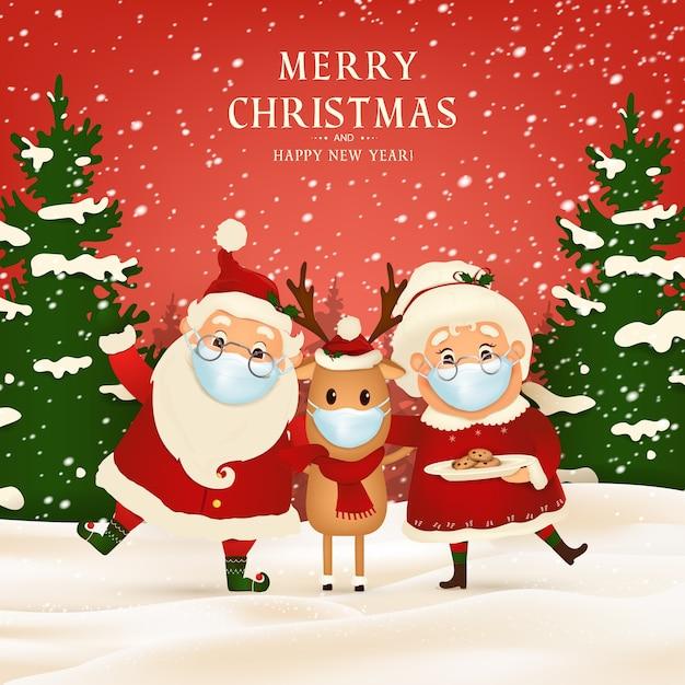 Feliz natal. feliz ano novo. engraçado papai noel com a linda sra. claus, rena de nariz vermelho usando máscara médica na paisagem de inverno de cena de neve de natal. personagem de desenho animado do papai noel. Vetor Premium