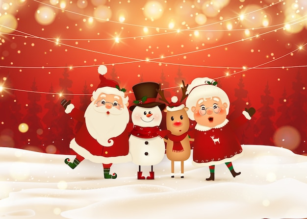 Feliz natal. feliz ano novo. engraçado papai noel com a sra. claus, rena de nariz vermelho, boneco de neve na paisagem de inverno cena de neve de natal. sra. claus juntos. personagem de desenho animado do papai noel. Vetor Premium