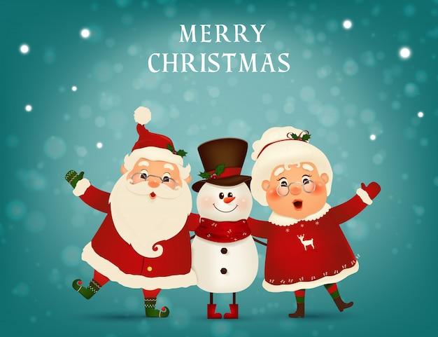 Feliz natal. feliz ano novo. engraçado papai noel com fofa sra. claus, boneco de neve na paisagem de inverno cena de neve de natal. sra. claus juntos. Vetor Premium