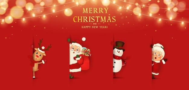 Feliz natal feliz ano novo engraçado papai noel Vetor Premium