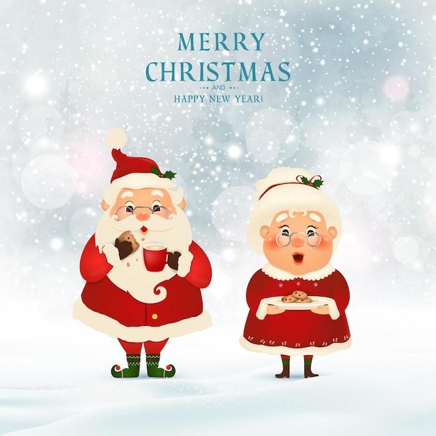 Feliz natal. feliz ano novo. papai noel com a sra. claus em cena de neve de natal. personagem de desenho animado do papai noel. Vetor Premium