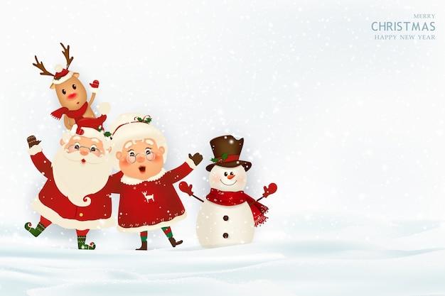 Feliz natal feliz ano novo papai noel com a sra. claus rena Vetor Premium